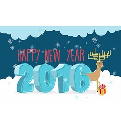 Happy new year 2016 deer and gift christmas vector