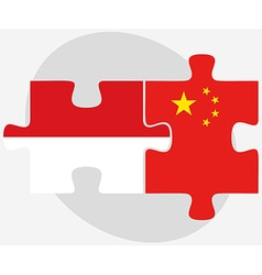 Indonesia and china flags in puzzle vector