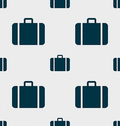 Suitcase icon sign seamless pattern with geometric vector