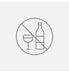 No alcohol sign line icon vector