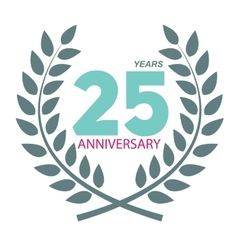 Template logo 25 anniversary in laurel wreath vector