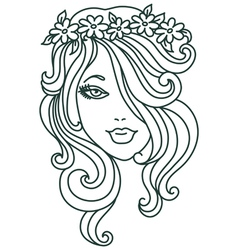 Beautiful woman with flower linear vector