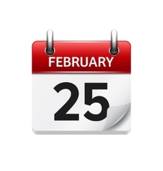 February 25 flat daily calendar icon date vector