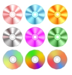 Set of Realistic Colorful Compact Discs Isolated vector image