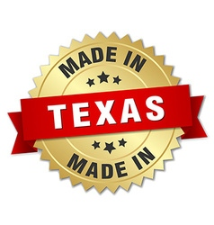 Made in texas gold badge with red ribbon vector