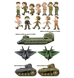Soldiers and different kinds of transportations vector