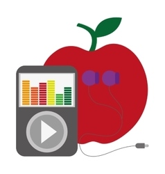 Apple with music player and earphones vector