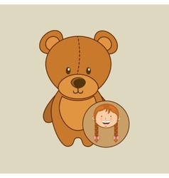 Beautiful girl smiling teddy and stick horse vector