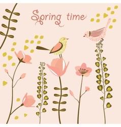Birds at spring time vector