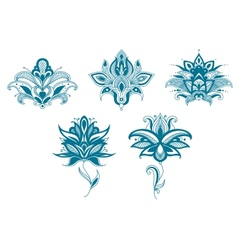 Blue paisley flowers set vector
