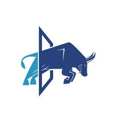Bull glass vector