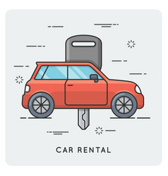 Car rental thin line concept vector