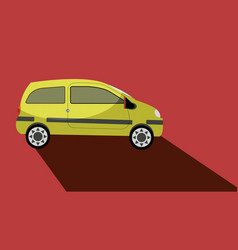 car with a long shadow vector image