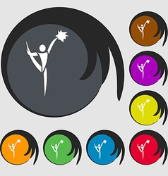 Cheerleader icon symbols on eight colored buttons vector