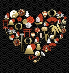 Chinese heart shape love china icon symbol vector image