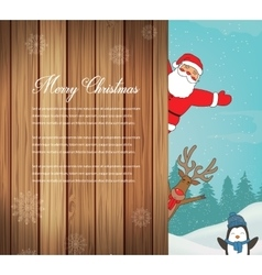 Christmas card with Santa Reindeer Penguins vector image vector image