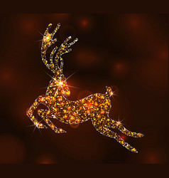Christmas light deer for happy new year running vector
