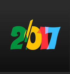 colorful 2017 text on black background vector image vector image