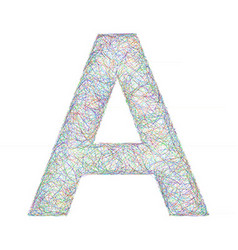 Colorful sketch font design - letter A vector image vector image