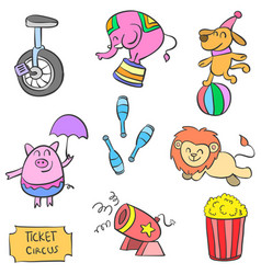 Doodle cute animal circus and element colorful vector