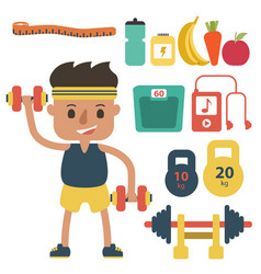 Flat fitness sportsman gym exercise equipment vector