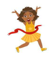 happy girl run to the finish line first in yellow vector image