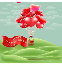 Heart-shaped hot air balloon taking off eps 10 vector