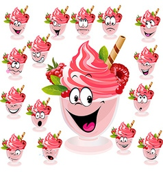 Ice cream with wafer raspberry and mint in cup - vector
