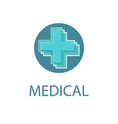 Medical logo abstract blue cross medicine design vector image