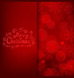 merry christmas card with text on red background vector image vector image