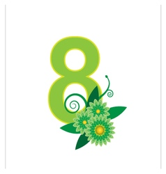 Number eight with floral vector image