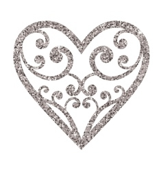 Ornamental glitter Valentines Day heart on a white vector image vector image