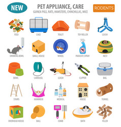 Pet appliance icon set flat style isolated on vector