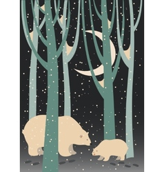Polar bear and cub in the forest vector image vector image