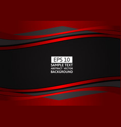 red and black wave abstract background with copy vector image vector image