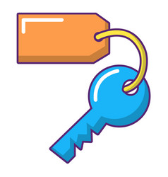 Room key at hotel icon cartoon style vector