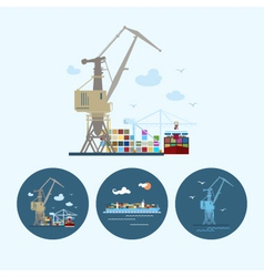 Set icons with crane containership crane in dock vector