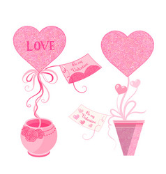 Set of topiary with hearts and greeting card in vector