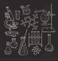 set of various devices for chemical experiments on vector image vector image