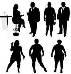 Several obese people in the bar vector image