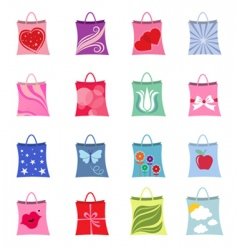 shopping bag set vector image vector image