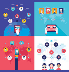 social network technology banner set vector image vector image