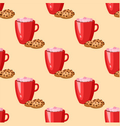 Sweet delicious cracker coffee cup morning bakery vector