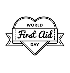 world first aid day greeting emblem vector image vector image