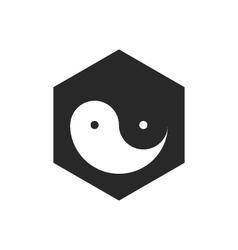 Yin yang on black vector