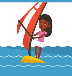 Young woman windsurfing in the sea vector