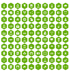 100 journalist icons hexagon green vector