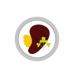 Steak in plate icon flat style vector