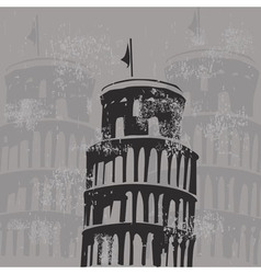 Learning tower of Pisa grunge vector image