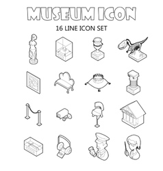 Museum icons setoutline style vector image